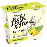 Light & free Yogur con piña y agua de coco Danone 460g