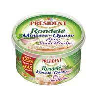 President Mousse de queso ajo y finas hierbas rondelé 125g