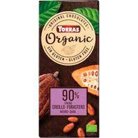 Chocolate negro bio 90% cacao criollo TORRAS, tableta 100 g