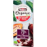Chocolate negro bio sin azúcar 79% cacao TORRAS, tableta 100 g