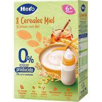 Hero Baby Papilla 8 cereales miel 0% azúcares producidos 340g