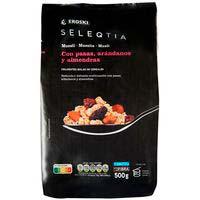 Muesli de pasas-arándanos-almendras Eroski SELEQTIA, bolsa 500 g