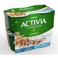 Activia Bífidus natural chia i ametlla sense sucres 4x120g