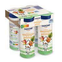 Danone Yogur beber mango y piña kid -50%azúcares añadidos 4x155g