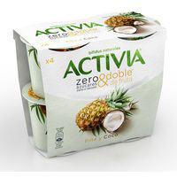 Activia bífidus Yogur piña y coco zero azúcares 4x115g