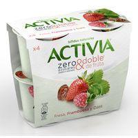 Activia bífidus Yogur fresa,frambuesa y dátil zero azúcar 4x115g