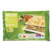 Lasanya vegetal EROSKI, safata 500 g