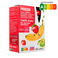 Bossetes 100% fresa-plàtan sense sucre EROSKI,pack4x100g