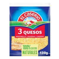 Queso rallado 3 quesos EL CASERIO, bolsa 130 g