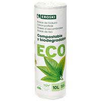 Borsa d'escombraries 10 l. biodegradable-comp. EROSKI ECO, paquet 15 unitats