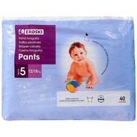 Pants canal absorbente 12-18 kg Talla 5 EROSKI, paquete 40 uds.