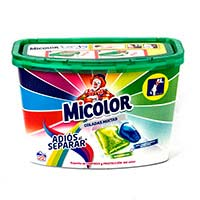 Detergente líquido en cápsulas MICOLOR, caja 22 dosis