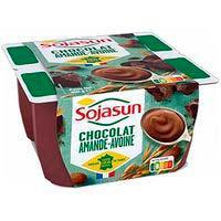 Yogur de avena-almendra-chocolate SOJASUN, pack 4x100 g