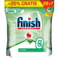 Lavavajillas eco 0% FINISH, bolsa 25+7 dosis
