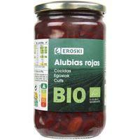 Alubia roja cocida EROSKI BIO, frasco 400 g