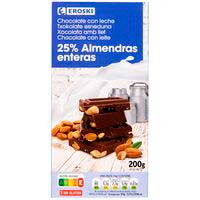 Xocolata amb llet-ametlles senceres EROSKI, tauleta 200 g