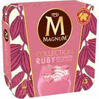 Helado ruby MAGNUM, pack 3x90 ml