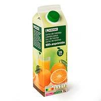 Zumo de naranja sin pulpa EROSKI, brik 1 litro