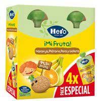 Bolsita de naranja-plátano-galleta HERO, pack 4x100 g
