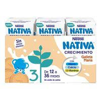 Leche de crecimiento junior 1+ galleta NESTLÉ, pack 3x180 ml