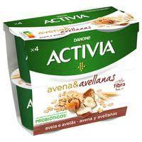 Danone de fibra-avena y avellanas ACTIVIA, pack 4x120 g