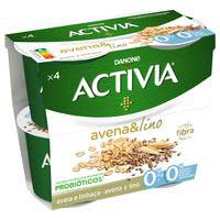 Danone 0% semillas avena-lino ACTIVIA, pack 4x120 g