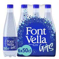 Aigua mineral amb gas FONT VELLA, ampolla 50 cl
