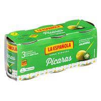 Olives farcides de jalapeño piquessis L'ESPANYOLA, pack 3x50 g
