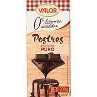 Chocolate puro para postre sin azúcar VALOR, tableta 200 g